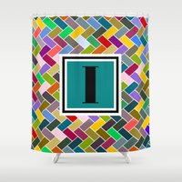 monogram Shower Curtains featuring I Monogram by mailboxdisco