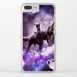 Outer Space Pug Riding Dinosaur Unicorn - Donut Clear iPhone Case