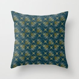 Ornamental Fall Floral Seamless Vector Pattern Background Throw Pillow