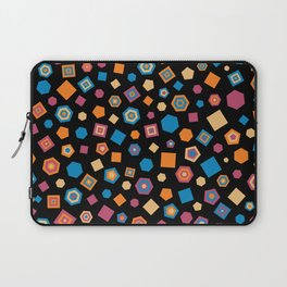 Colorful polygons on Black background Laptop Sleeve