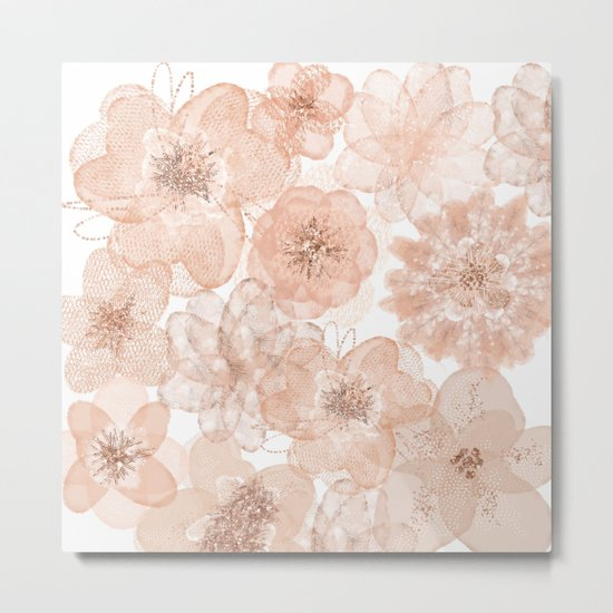 Flowers and Lace- Floral pattern in pink Metal Print