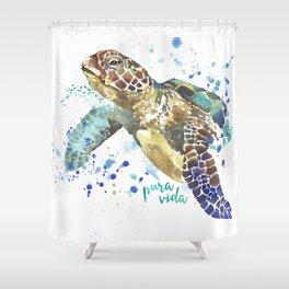 Sea Turtle Pura Vida Watercolor Shower Curtain