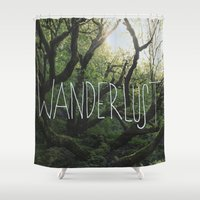 wanderlust Shower Curtains featuring Wanderlust by Leah Flores