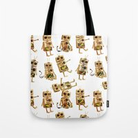 robots Tote Bags featuring robots by Lara Paulussen