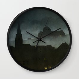 small town with castle Wall Clock