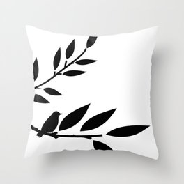 Bird and Branches Silhouette Throw Pillow
