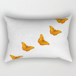 Beautiful butterflies on a textured white background Rectangular Pillow