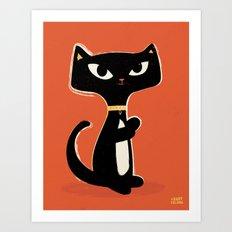 Suspiciously Cute Black Cat Art Print