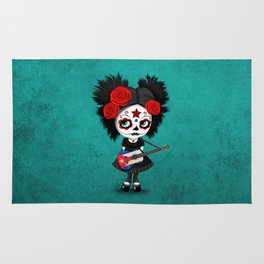 Day of the Dead Girl Playing Cuban Flag Guitar Rug