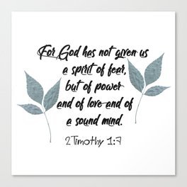 2 Timothy 1:7 Scripture Canvas Print