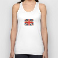british flag Tank Tops featuring Vintage Aged and Scratched British Flag by Jeff Bartels