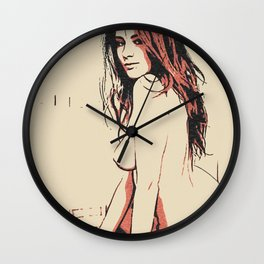 Sensual perfection, perfect curves girl posing on floor, seductive erotic, beautiful redhead nude Wall Clock