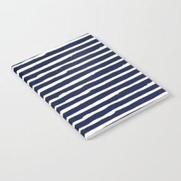 Navy Blue Stripes on White II Notebook