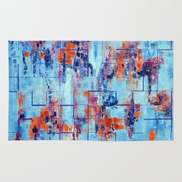 Blue Line Abstract Modern Acrylic Painting, Blue Home Decor Rug