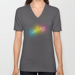 Badass Rainbow Neon Sign Unisex V-Neck
