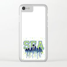 Seattle 12th Man Art Watercolor Space Needle Painting Clear iPhone Case