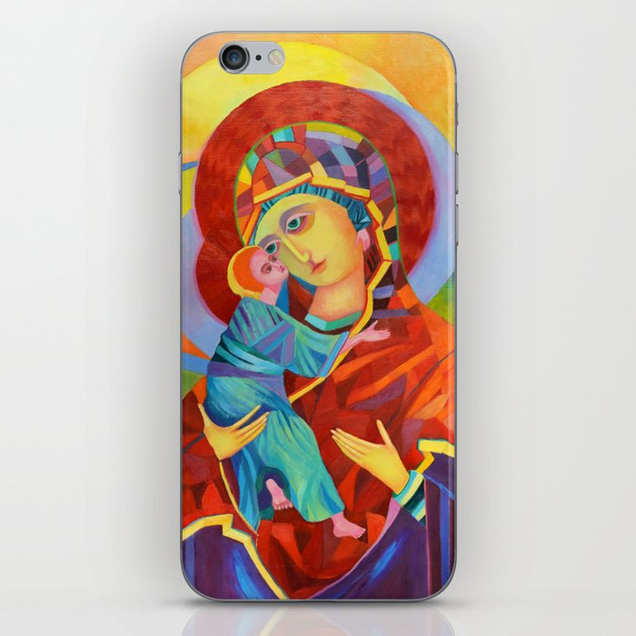Virgin Mary Painting Madonna and Child Jesus icon Modern Catholic Religious iPhone Skin