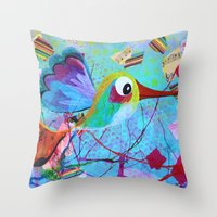 hemingway Throw Pillows featuring Hemingway - Quirky Bird Series by Hyla Zest