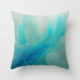 Blue Wave Texture Painting Throw Pillow