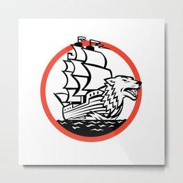 Galleon Ship Wolf on Bow Circle Retro Metal Print