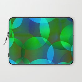 Abstract soap from space yellow and green bright circles and bubbles on a luminous background. Laptop Sleeve