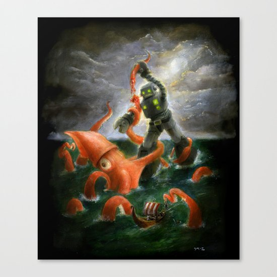 Sea Battle Masterpiece Robot vs Squid  Canvas Print