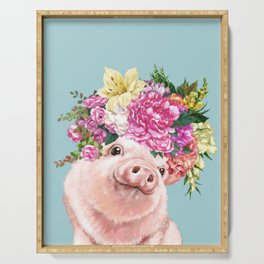Flower Crown Baby Pig in Blue Serving Tray
