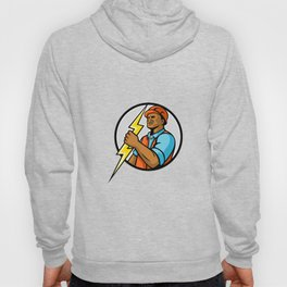 African American Electrician Lightning Bolt Mascot Hoody