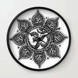 Ohm Symbol Flower Tattoo Wall Clock