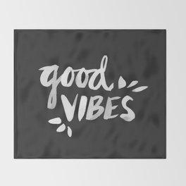 Good Vibes – White Ink Throw Blanket