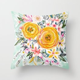 SMELLS LIKE PRETTY EXPERIMENTS Floral Throw Pillow