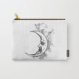 Man On The Moon Crescent Moon Black on White Carry-All Pouch