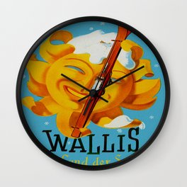 Wallis - Valais Switzerland - German Travel Poster Wall Clock