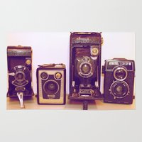 cameras Area & Throw Rugs featuring Vintage Cameras by D C Cash