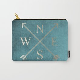 Gold on Turquoise Distressed Compass Adventure Design Carry-All Pouch