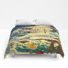 Japanese Woodblock Print Vintage Asian Art Colorful woodblock prints Shrine At Night Snow White Comforters