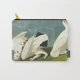 American Ptarmigan and White Vintage Scientific Bird Illustration Carry-All Pouch