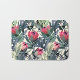 Painted Protea Pattern Bath Mat