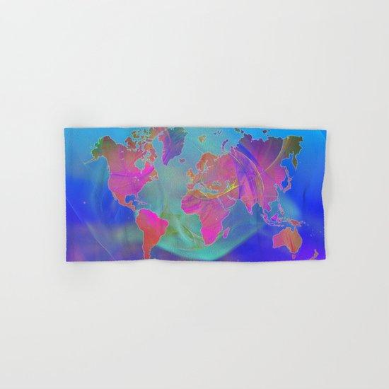 World Map Fractal Hand & Bath Towel
