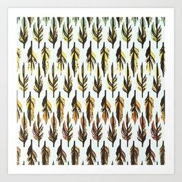 Boho Feather Pattern Art Print