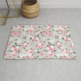 Cute floral pattern. Pink and white flowers. Rug