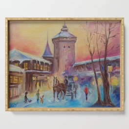 Winter scene Christmas in the old town illustration Winter landscape Architecture painting Serving Tray