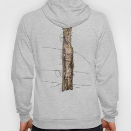 Barbed wire & Fence Post (in the snow) Hoody
