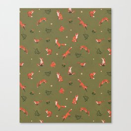 Fox Pattern (small) Canvas Print