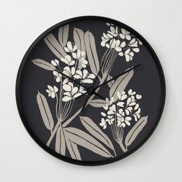 Boho Botanica Black Wall Clock