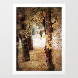 Autumn Cyclist Art Print