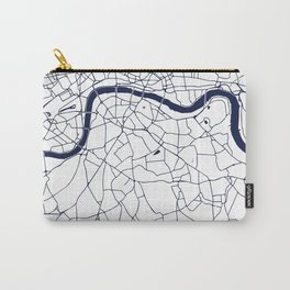 London White on Navy Street Map Carry-All Pouch