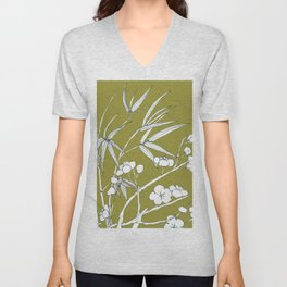 bamboo and plum flower in white on yellow Unisex V-Neck