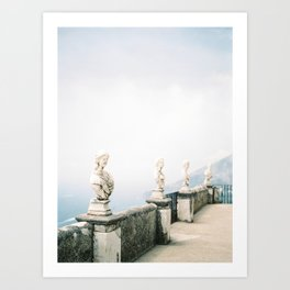 Marble Roman Style Statues at the Terrace of Infinity | Ravello Statue Photography | Amalfi Sea Coast Sculpture | Italy Bust Ocean View Art Print