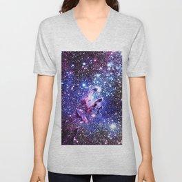 purple blue Eagle Nebula Unisex V-Neck